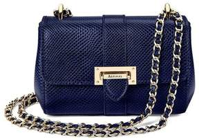 Aspinal of London | Micro Lottie Bag In Midnight Blue Lizard | Midnight blue lizard