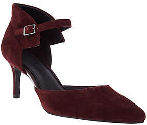 Halston H by Suede Heels with Adjustable AnkleStrap - Laurie