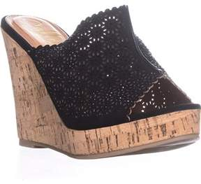 Callisto Lovie Embellished Platform Wedge Sandals, Black.