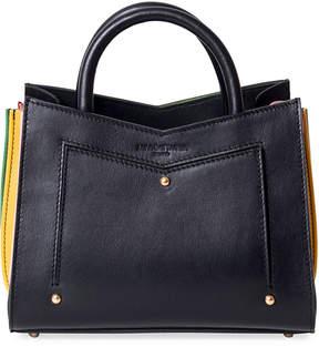 Sara Battaglia Linda Toy Leather Tote Bag w/ Contrast Gussets