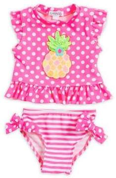 Flapdoodles Baby Girl's Two Piece Printed Pineapple Swimsuit