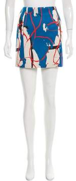 Cédric Charlier Abstract Print Neoprene Skirt
