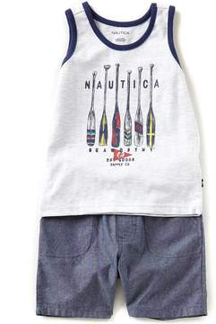 Nautica Baby Boys 12-24 Months Striped-Placement-Printed Tank Top & Solid Shorts Set