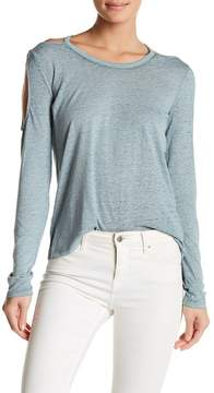 Planet Gold Burnout Cold-Shoulder Pullover Shirt