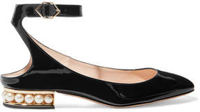 Nicholas Kirkwood Lola Embellished Patent-leather Ballet Flats - Black