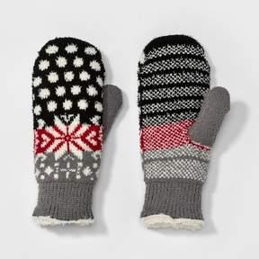Isotoner Women's Snowflake Polka Dot Knit Mitten Black/Red/Gray