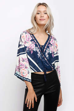 Flying Tomato Floral Border Surplice Top