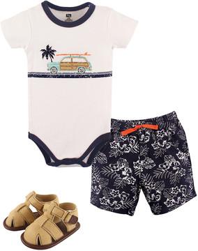 Hudson Baby White Surf Bodysuit & Floral Shorts Set - Infant
