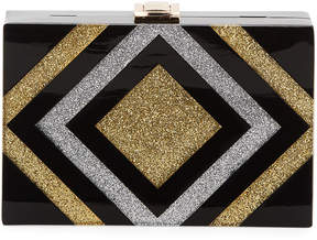 Milly Metallic Striped Box Clutch Bag