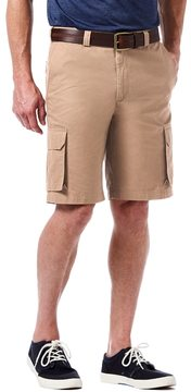 Haggar Men's Micro Sand Classic-Fit Expandable Waistband Canvas Cargo Shorts