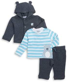 Absorba Baby Boy's Three-Piece Hoodie, Cotton Top and Sweatpants Set