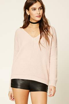 Forever 21 Ribbed Knit V-Neck Sweater