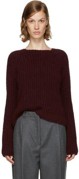 Carven Burgundy Purl Stitch Crewneck Sweater