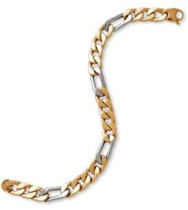 Lord & Taylor 14K Yellow and White Gold Chain-Link Bracelet