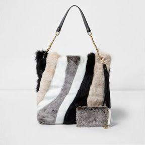 River Island Womens Beige mixed fur slouch chain bag