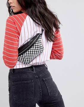 Asos DESIGN Quilted Fanny Pack In Checkerboard Print