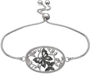 Brilliance+ Brilliance Silver Plated Marcasite Butterfly Bolo Bracelet
