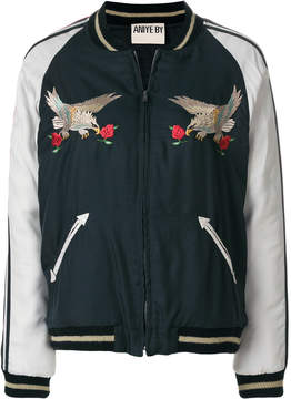 Aniye By eagle rose patch bomber jacket