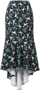 Christian Siriano bird print asymmetric skirt