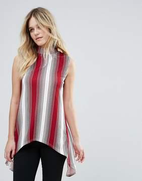 AX Paris Sleeveless High Neck Striped Top