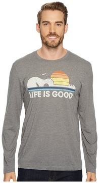 Life is Good Guitar Dog Long Sleeve Cool Tee Men's Short Sleeve Pullover