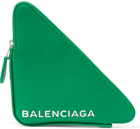 Balenciaga Printed Leather Pouch - Green
