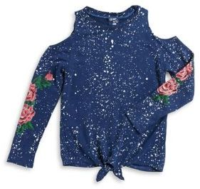 Flowers by Zoe Girl's Floral Graphic Cold-Shoulder Top