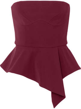 Cushnie et Ochs Evita Off-the-shoulder Stretch-crepe Peplum Top - Burgundy
