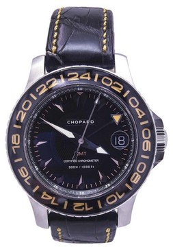 Chopard Pro One GMT 8959 Black and Orange Stainless Steel Alligator 42mm Mens Watch