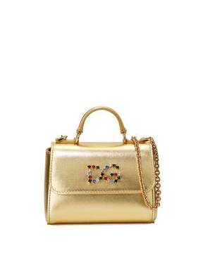 Dolce & Gabbana Girls' Metallic Leather Top-Handle Shoulder Bag - GOLD - STYLE