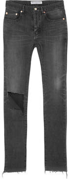 Balenciaga Distressed High-rise Skinny Jeans - Charcoal