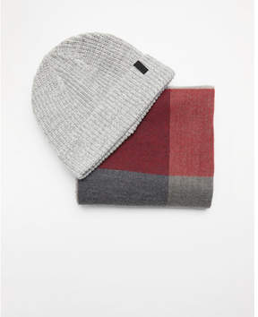 Express gray plaid scarf and beanie set