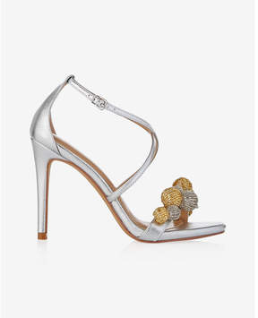 Express sequin pom heeled sandals