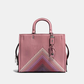 COACH Coach Rogue With Colorblock Quilting And Rivets - BLACK COPPER/DUSTY ROSE MULTI - STYLE