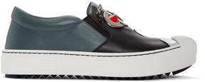 Fendi Black and Grey Faces Slip-On Sneakers