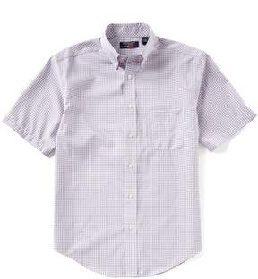 Roundtree & Yorke TravelSmart Big and Tall Short-Sleeve Mini Checked Sportshirt