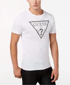 GUESS Men's Classic Triangle Metallic Logo-Print T-Shirt