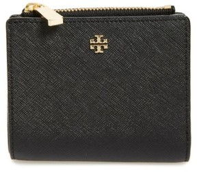 Tory Burch Women's 'Mini Robinson' Leather Wallet - Black - BLACK - STYLE