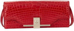Valentino Alligator Flap Crossbody Bag, Red