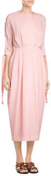 Emilia Wickstead Silk Midi Dress with Cut-Out Sleeves