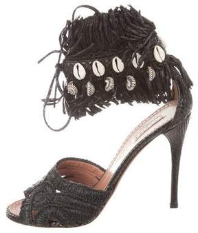 Alaia Raffia Embellished Sandals