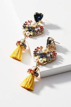 Anton Heunis Tasseled Peacock Drop Earrings