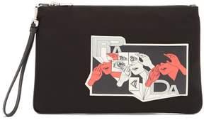 Prada Comic-print appliqué pouch