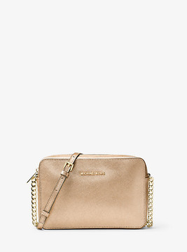 Michael Kors Jet Set Travel Large Metallic Leather Crossbody - GOLD - STYLE
