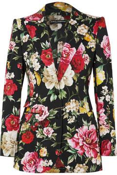 Dolce & Gabbana Floral-print Stretch-cotton Blazer - Black