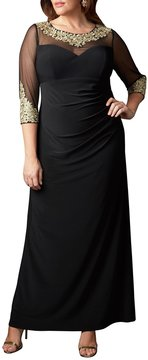 Alex Evenings Plus Embroidered Neckline Illusion Sleeve Gown