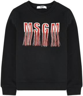 MSGM Logo sweatshirt with fringes