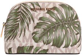 Michael Kors Vanilla & Olive Palm Leaf Fulton Coin Purse