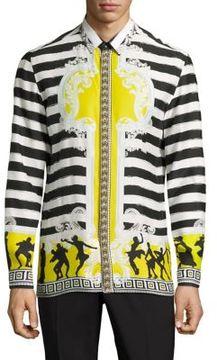 Versace Collection Dancing Marine Silk Casual Button Down Shirt