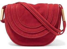 Diane von Furstenberg Leather-Trimmed Nubuck Shoulder Bag